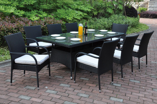 7PCS OUTDOOR PATIO TABLE SET TRIMMED IN BEAUTIFUL AND DURABLE DARK BROWN RESIN WICKER AND AN ALUMINUM FRAME