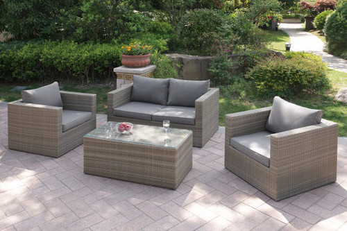4PC OUTDOOR PATIO SOFA SET TAN RESIN WICKER