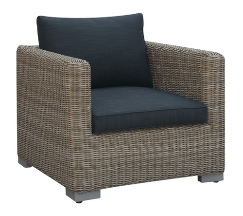 OUTDOOR ARM CHAIR TAN RESIN WICKER FINISH WITH BLACK SEAT AND BACK CUSHIONS