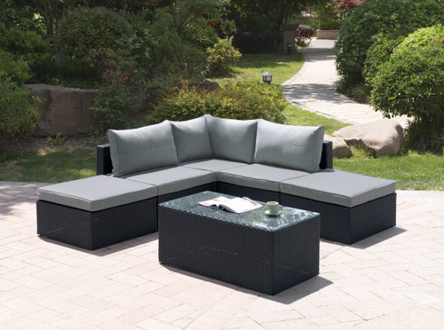 6PC OUTDOOR PATIO SOFA SET IN DARK BROWN RESIN WICKER FINISH WITH COCKTAIL TABLE AND GREY SEAT CUSHIONS