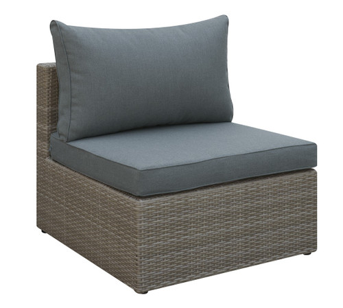 OUTDOOR ARMLESS CHAIR IN TAN RESIN WICKER AND GREY SEAT AND BACK CUSHIONS
