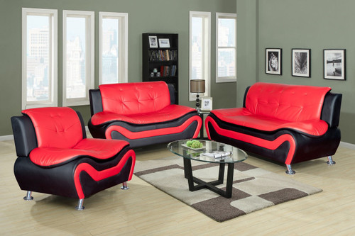 CHRISTOPHER ORANGE AND BLACK SOFA LOVESEAT WITH CHAIR 3 PCS Set