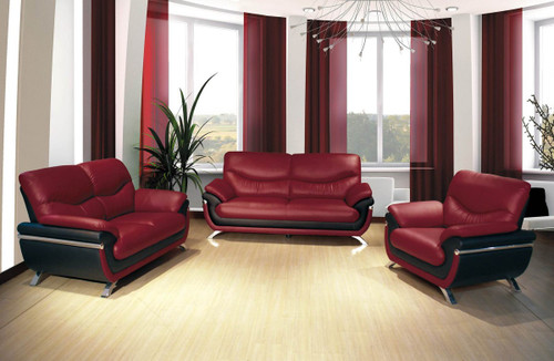 ETHAN RED SOFA LOVESEAT WITH CHAIR 3 PCS Set