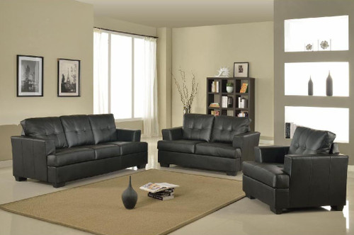 KEVIN BLACK SOFA LOVESEAT WITH CHAIR 3 PCS Set