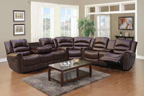 Brayden 3PC Sofa Loveseat and Wedge With Recliner & Drop Table Set