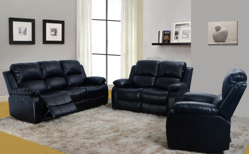 Luis 3 PC Sofa Loveseat With Recliner & Drop Table Set