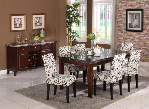 GIACOMO COUNTER HEIGHT TABLE(REAL MARBLE) TOP 7 PC Set - D003DM-T(8106-C)-7PC