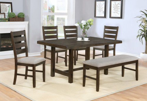 ELDA DINING TABLE TOP & BENCH 6 PC Set - 2297