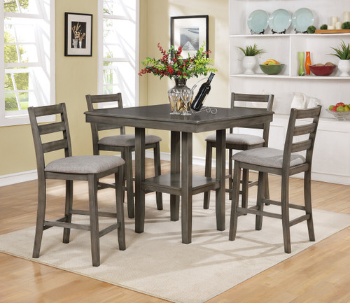 Tahoe Counter Height Table Top 5 PC Set- Grey - 2630SET-GY