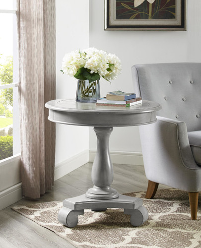 CONSTANCE ROUND END TABLE-GREY