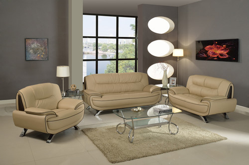 CONTEMPORARY SOFA- CAPPUCINO BROWN LEATHER (AVAILABLE IN SET)