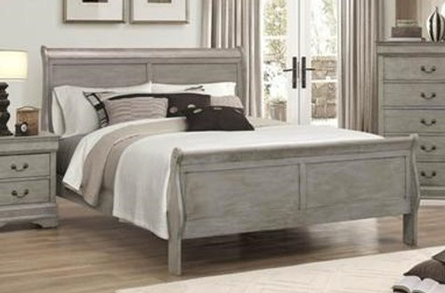 GREY SLEIGH BED FRAME MATTRESS AND BOXSPRING