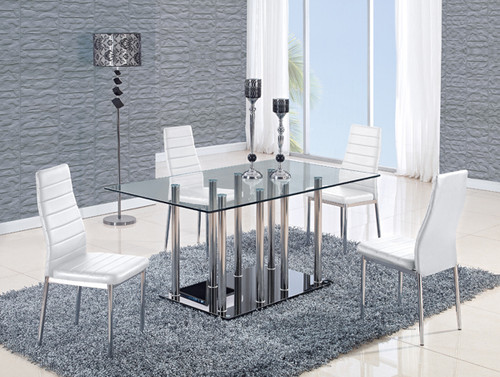 Stainless/ Black Base Dining Table