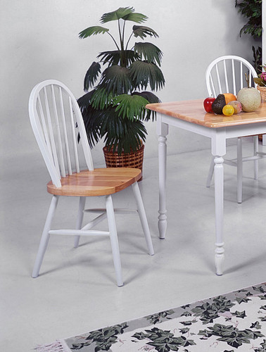 "WINDSOR CHAIR 36""H WH / NAT 2 PCS SET-2304/WH/NAT"
