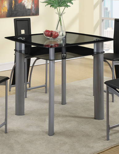 BLACK PAINTED GLASS COUNTER HEIGHT TABLE