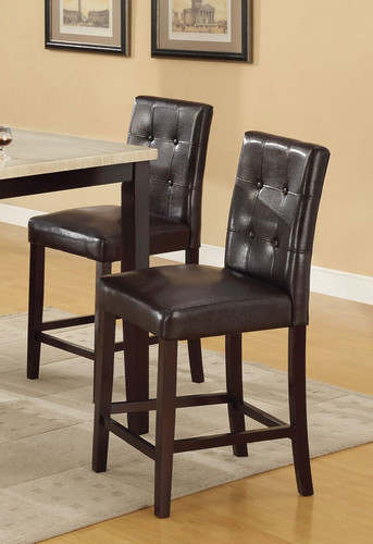 DARK BROWN COUNTER HEIGHT CHAIR 2 PCS SET