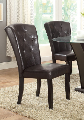 DARK ESPRESSO FAUX LEATHER DINING CHAIR 2 PCS SET