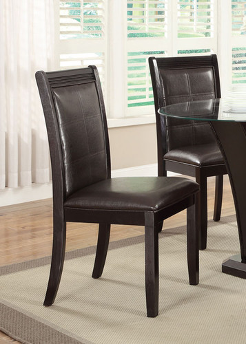 DARK BROWN FAUX LEATHER DINING CHAIR 2 PCS SET
