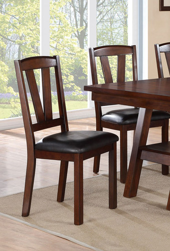 DARK WALNUT FINISH DINING CHAIR 2 PCS SET