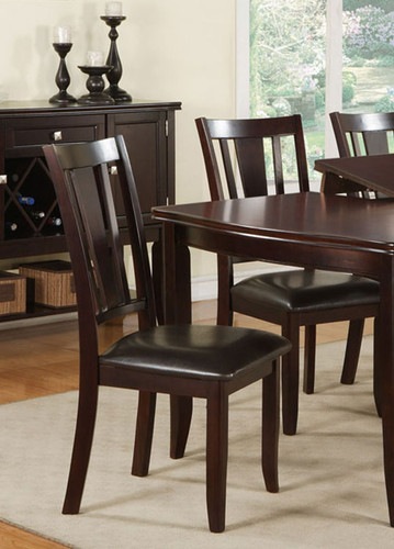 DEEP BROWN WOOD FINISH DINING CHAIR 2 PCS SET