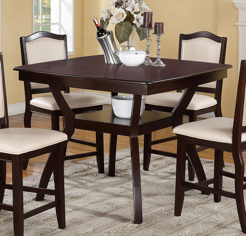 IMPERIAL DESIGN DARK BROWN COUNTER HEIGHT TABLE