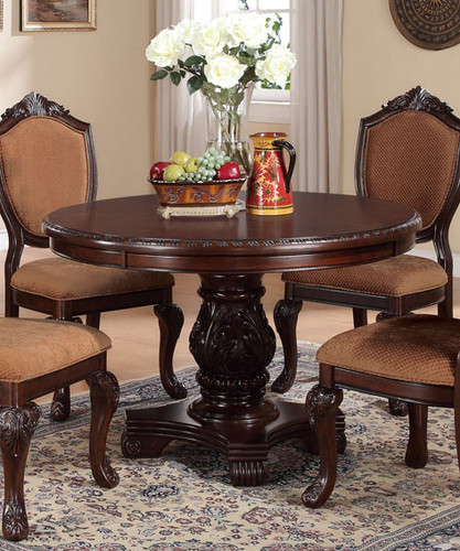 ASTOUNDING CARVED FLORAL ACCENTS DINING TABLE