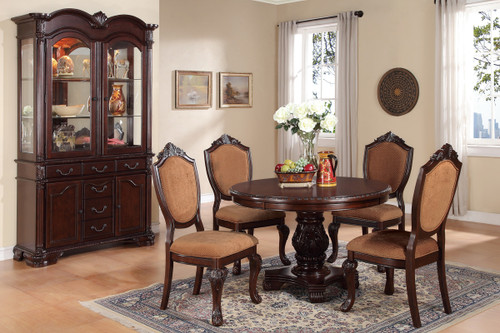 ASTOUNDING CARVED FLORAL DINING CHAIR 2 PCS SET-F1395/A