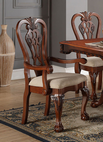 CHERRY WOOD FORMAL ARM CHAIR 2 PCS SET