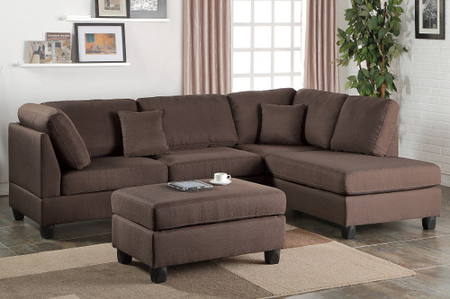 REVERSIBLE 3-pcs SECTIONAL SOFA SET W/OTTOMAN IN CHOCOLATE