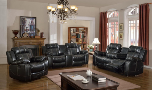MAYORCA COLLECTION 3 PCS RECLINER SET WITH STORAGE COMPARTMENT AND CUP-HOLDER IN BLACK