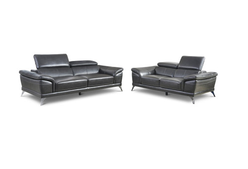 VENICE MODERN GREY SOFA AND LOVESEAT 2PCS SET