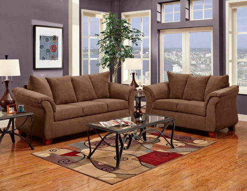 WASHINGTON CHOCOLATE SOFA AND LOVESEAT 2PCS SET-2000-Chocolate