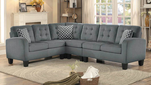 SINCLAIR COLLECTION REVERSIBLE SECTIONAL GRAY FABRIC WITH PILLOWS