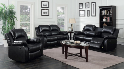 3PC CULLEN RECLINER SOFA, LOVESEAT AND CHAIR (BLACK)