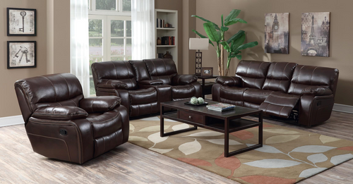FLORENCE BROWN RECLINER SOFA AND LOVESEAT 3PCS MOTION SET