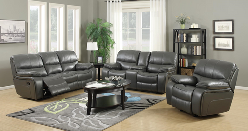 FLORENCE GREY RECLINER SOFA AND LOVESEAT 3PCS MOTION SET