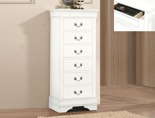 LP LINGERIE CHEST W/HID DRW - WHITE-B3600-6-HD