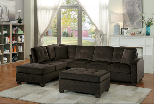 EMILIO REVERSIBLE SECTIONAL CHOCOLATE FABRIC