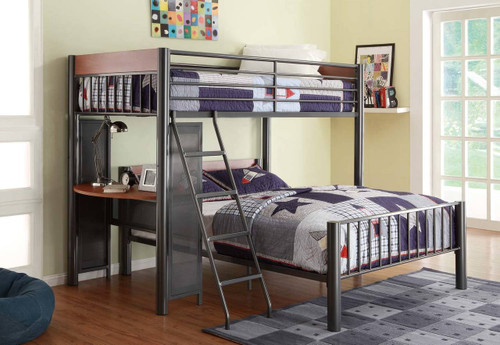 DIVISION TWIN/FULL LOFT BED LIGHT GRAPHITE