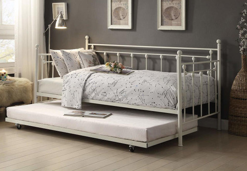 LORENA METAL DAYBED WITH TRUNDLE-4965W-NT