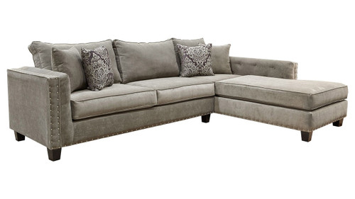 OVER-SIZED SECTIONAL TUFTED STORM IN GRAY