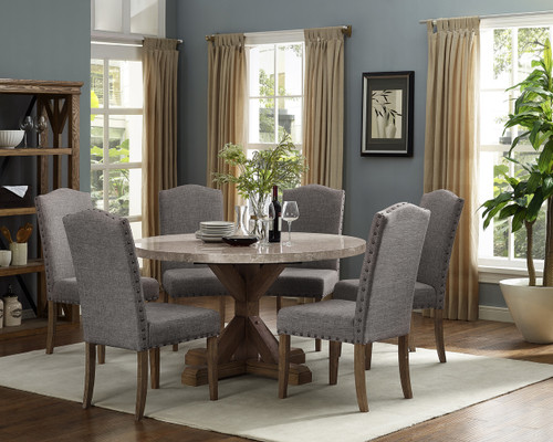 VESPER ROUND MARBLE DINING TABLE 5 PIECE SET-1211T-54