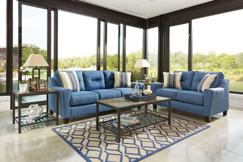 FORSAN NUVELLA BLUE COLLECTION SOFA AND LOVE SEAT 2 PCS SET