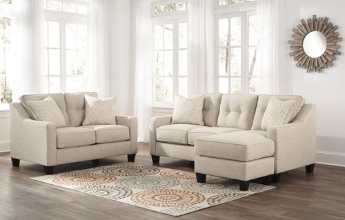 ALDIE NUVELLA SAND COLLECTION SOFA CHAISE AND LOVE SEAT 2 PCS SET