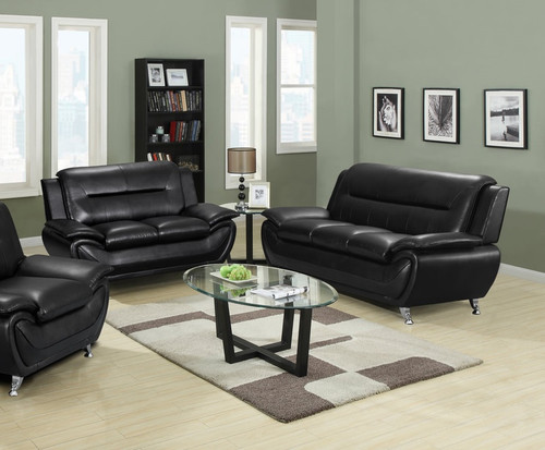 All Black Two Pcs Living Room Set Sofa and Loveseat
