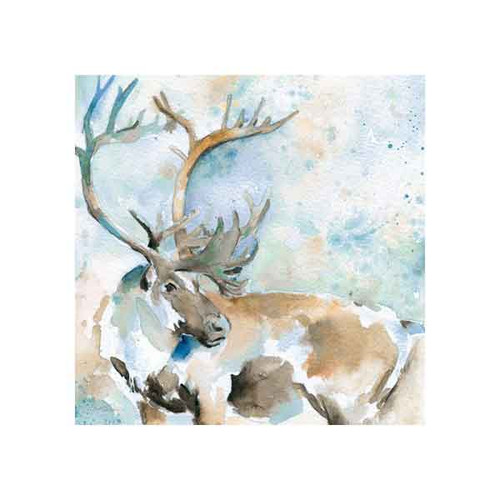 CARIBOU ON BLUE BY CAROL ROBINSON 50x50