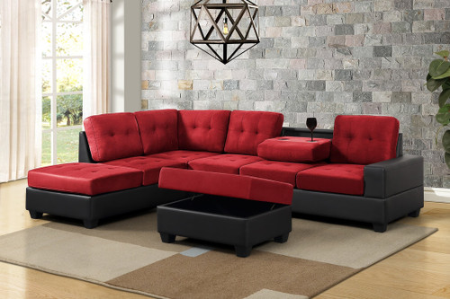 3 PCS HEIGHTS THICK FABRIC &  BONDED LEATHER SECTIONAL WITH DROP DOWN CUP HOLDER WITH OTTOMAN IN RED