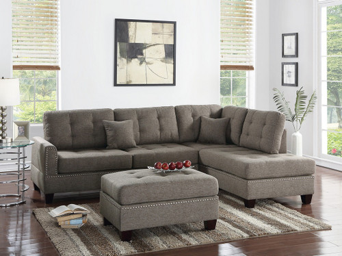 3PCS COFFEE COLOR SECTIONAL SET WITH OTTOMAN