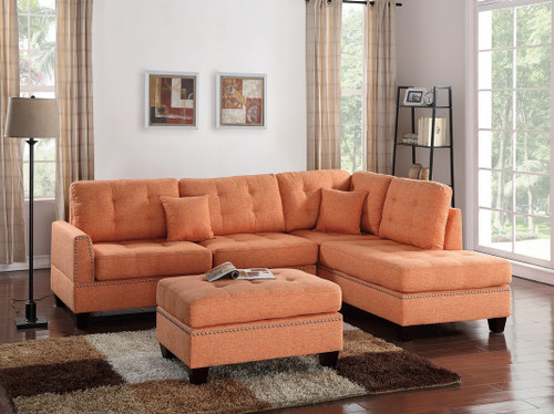 3PCS CITRUS COLOR SECTIONAL SET WITH OTTOMAN