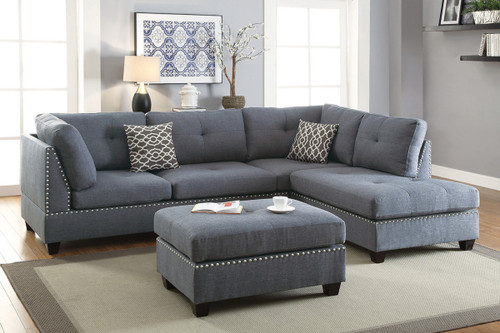 3PCS BLUE GREY SECTIONAL/NAILHEAD WITH OTTOMAN